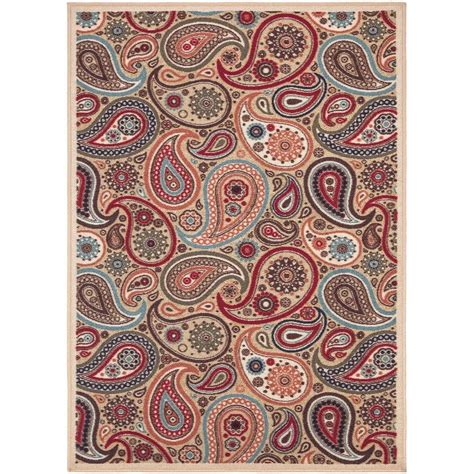 Paisley Area Rug Ottomanson Contemporary Paisley Design Beige 8 Ft 2 In X 9 Ft 10 In Non Skid Area Rug