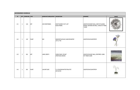 Furniture Schedule J Wood Ff E Schedule Template