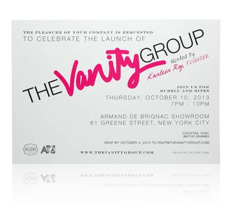 invitation design nyc ceci new york launch party invitation for the vanity group