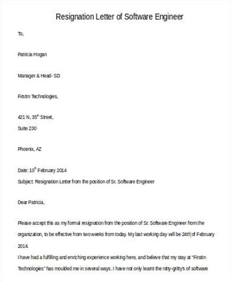 Best Resignation Letter Software Engineer Simple Resignation Letters