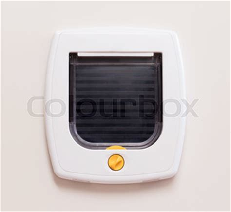 Interior Cat Door With Flap Inside View Of A Regular White Cat Flap On A Light Door Flap Closed Stock Photo Colourbox