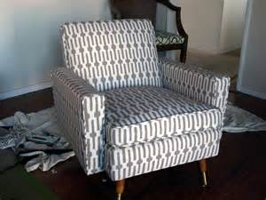 Reupholster Armchair Tutorial by How To Reupholster A Mid Century Chair Just About Home