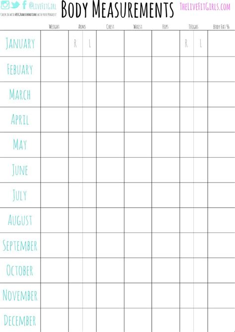 template body measurement chart template