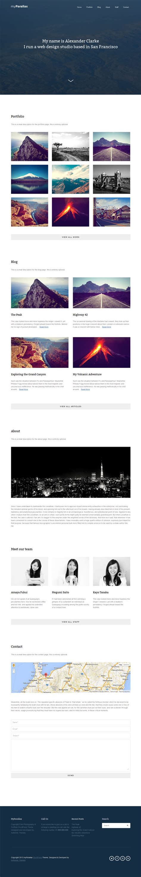 themes wordpress single page myparallax single page wordpress theme