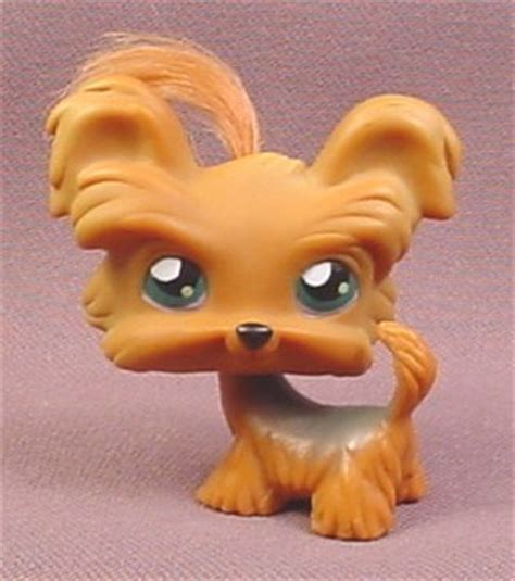 littlest pet shop yorkie littlest pet shop 6 brown yorkie terrier puppy with tuft of hair blue