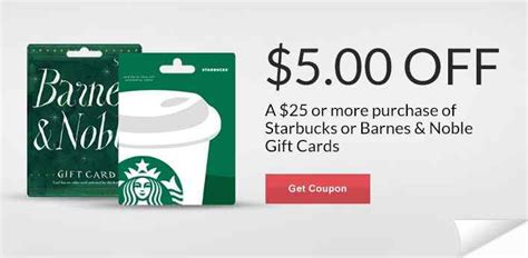 Barnes And Noble Gift Cards At Cvs - 5 off 25 starbucks or barnes noble gift cards mojosavings com
