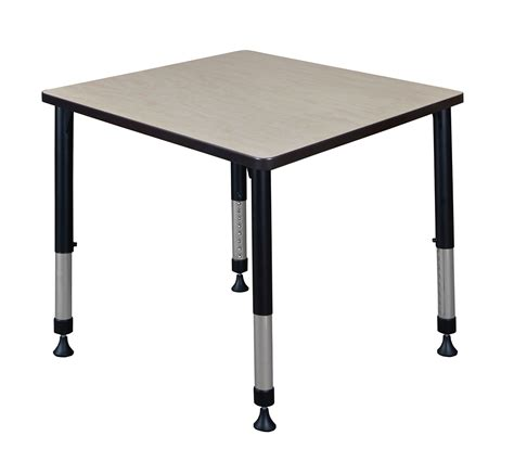 adjustable height square table kee 30 quot square height adjustable classroom table in maple