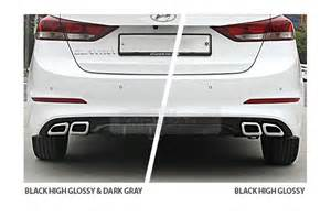 rear bumper diffuser dual type glossy black chrome for