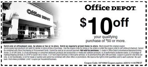 Office Depot Coupons 50 Office Depot 10 50 Printable Coupon