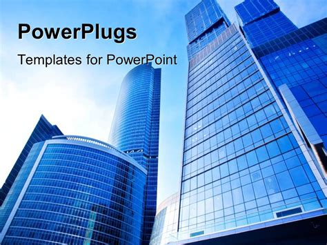 building powerpoint templates powerpoint template a number of skyscrapers with sky in