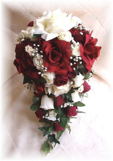 pc silk wedding bridal bouquet burgundy cream ivory
