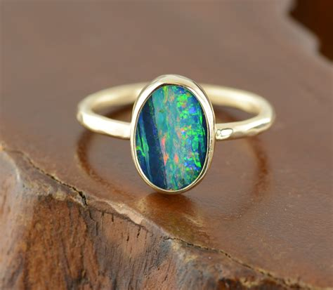 14k gold black opal ring point no point studio