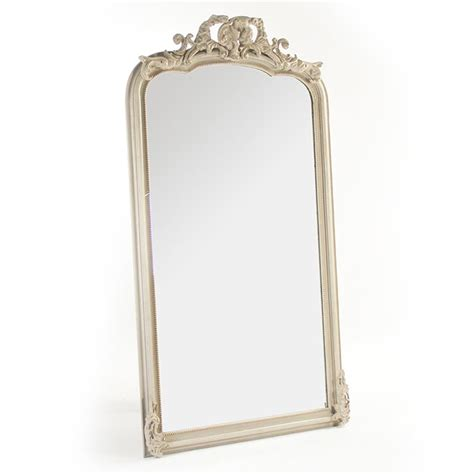country ornate antique ivory floor mirror