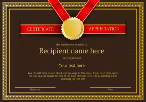 certificate border template with red ribbon and gold medal