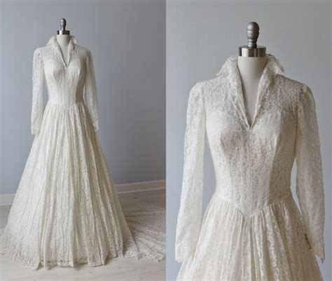 Vintage Wedding Dresses 1950 by 1950s Wedding Dress 1950s Lace Wedding By