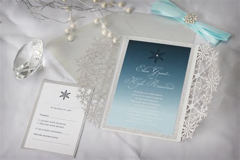 Winter Wedding Invitations by Luxurious Snowflake Laser Cut Winter Wedding Invitation