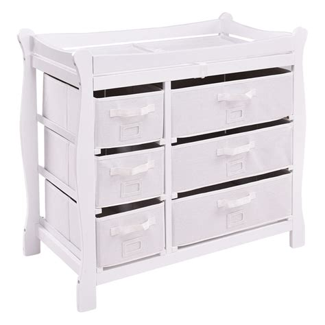 Baby Changing Tables With Drawers Black Sleigh Style Baby Changing Table 6 Basket Drawer Storage Nursery Ebay