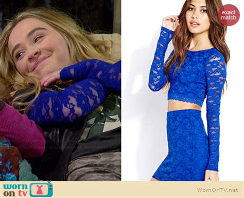 Sabrina Lace Daleman Sabrina Croptop wornontv maya s road the beatles blue lace sleeve top and studded leather