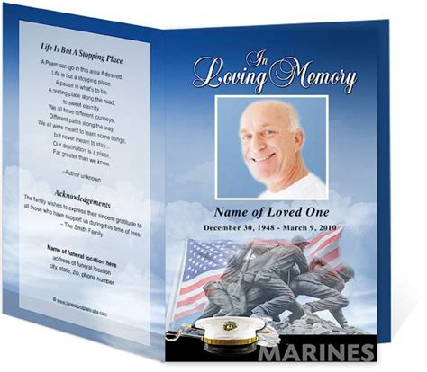 Marines U S Patriotic Military Funeral Program Template Design Memorial Service Programs Free Patriotic Funeral Program Template
