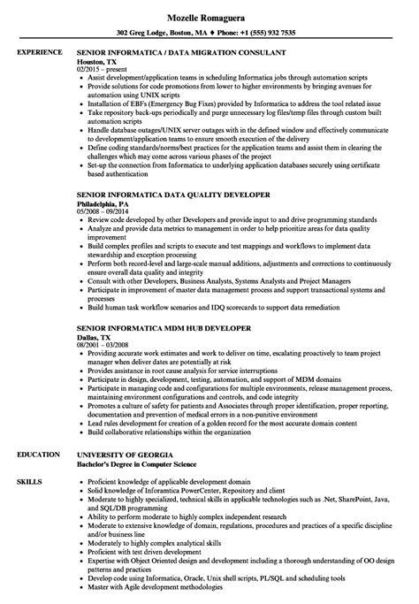 senior informatica resume sles velvet