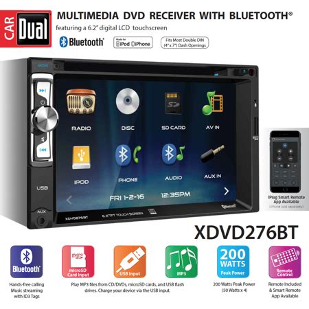 dual electronics xdvdbt   led backlit lcd multimedia touch screen double din car