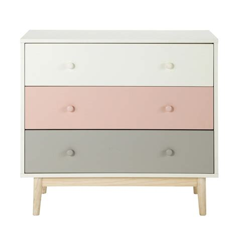 wooden chest of drawers in white and pink w 90cm blush
