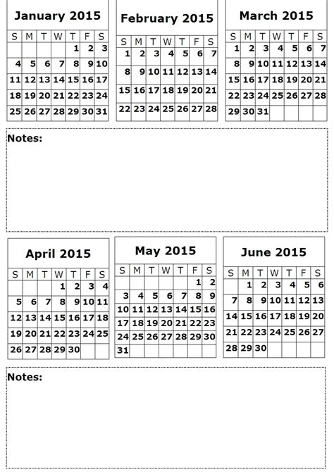 6 month calendar template 8 best images of 2015 printable calendar 6 months per page
