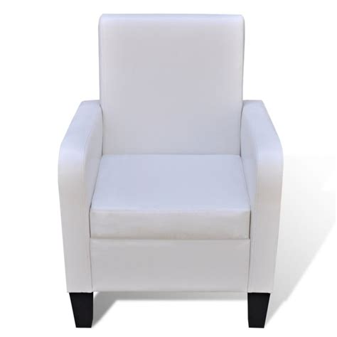 White Faux Leather Armchair by High Back Faux Leather Upholstered Armchair White Buy