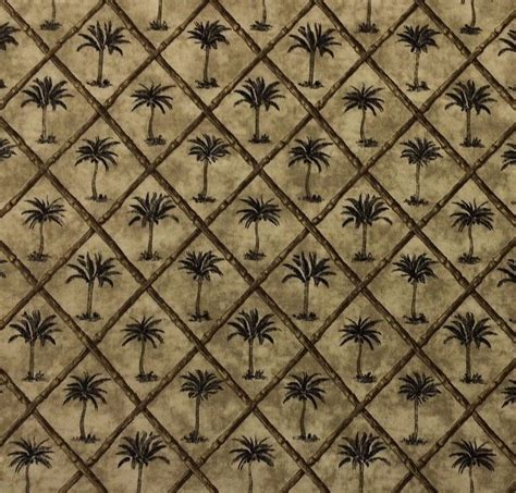 Pineapple Upholstery Fabric Waverly Tangier Ebony D4017 Black Palm Tree Bamboo