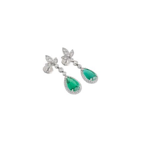 18k Gold Drop Earring 18k white gold emerald drop earrings rich