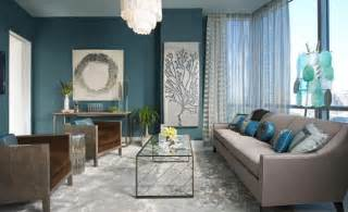 interior blue from navy to aqua summer decor in shades of blue