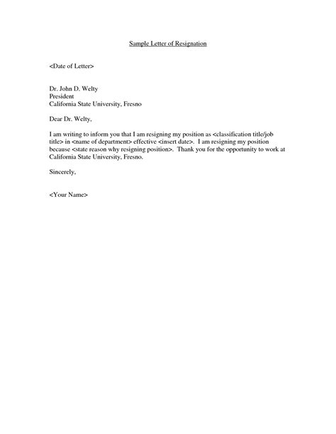 Sles Of Resignation Letter For Personal Reasons by Exle Of A Brief Resignation Letter Sle Resignation Letters For Personal Reasons