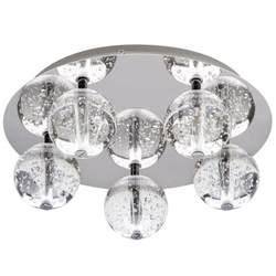 droplet 5 light led glass chrome flush ceiling light