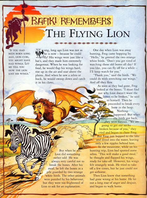 printable version of anansi wisdom story the flying lion rafiki remembers the lion king wiki