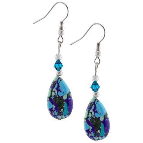 blue lapis turquoise teardrop earrings