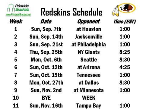 printable redskins schedule redskins schedule washington redskins schedule