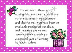 parent volunteer thank you cards for the end of the year from creativity in teaching on