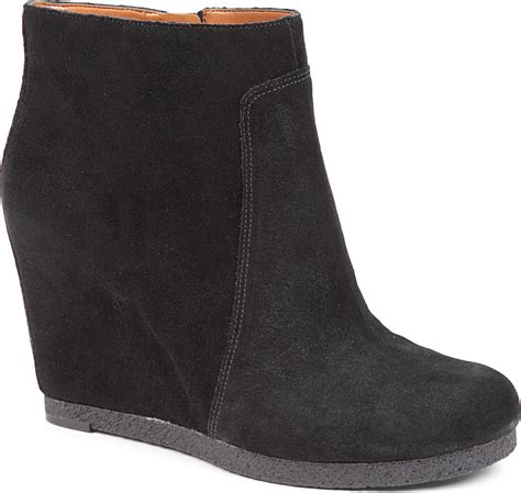nine west blacklight suede wedge boots in black lyst
