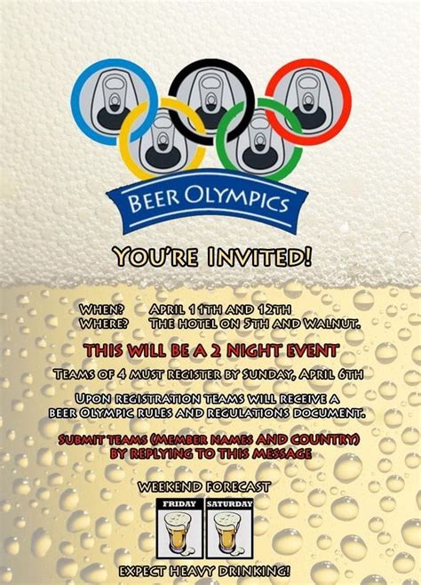 Beer Olympics Invitation We Made An Invitation For Our Houses Inaugural Beer Olympics Party Olympic Invitation Template
