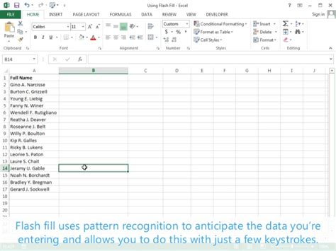 pattern recognition excel using flash fill excel 2013 tutorial