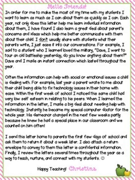 Parent Information Letter From Parent Information Letter To The Editable Tpt
