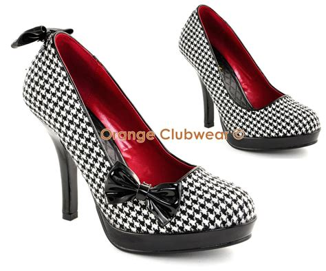 houndstooth high heels pinup womens retro high heels houndstooth fabric shoe ebay