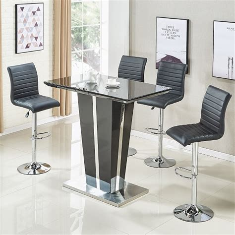 memphis glass bar table  high gloss black   ripple