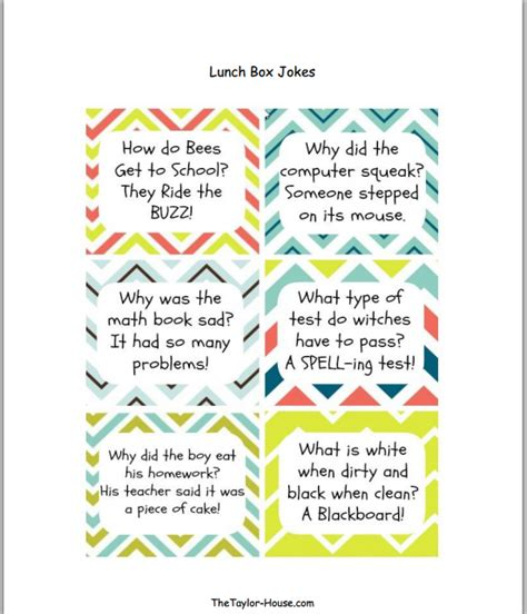 printable children s jokes back to school lunch box jokes page 2 of 2 the taylor