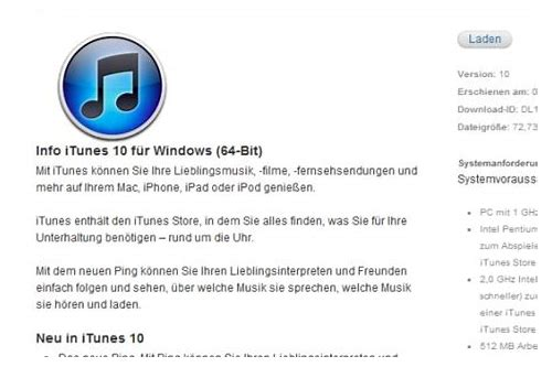 itunes windows vista herunterladen chip 64 bit