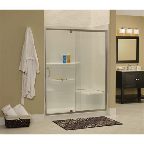 Frameless Pivot Glass Shower Doors Cove 42 In W X 69 In H Frameless Pivot Shower Door And Fixed Panel In Silver With 1 4 In