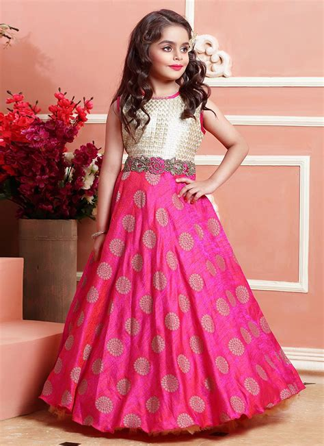 design dress download buy pink n beige art silk kids gown online from the wide