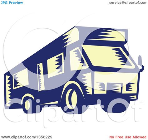 clipart of a retro woodcut clipart of a retro woodcut yellow and blue rv cer