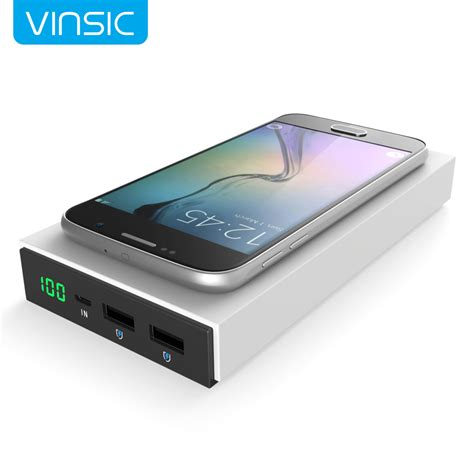 Power Bank Wireless Charger aliexpress buy vinsic 12000mah qi wireless charger power bank dual usb port 5v 2 4a
