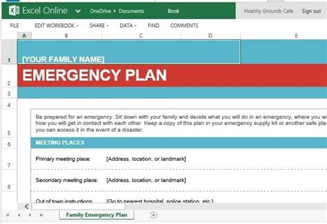 family emergency information template for excel